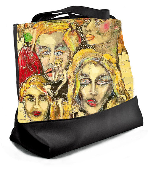 Large tote with zipper featuring painting, I Am More Than You Imagined.