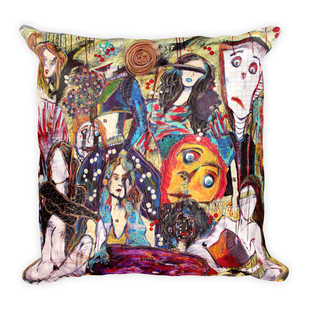 "18"" x 18"" pillow featuring original painting, The Resilient, by Penelope Przekop."