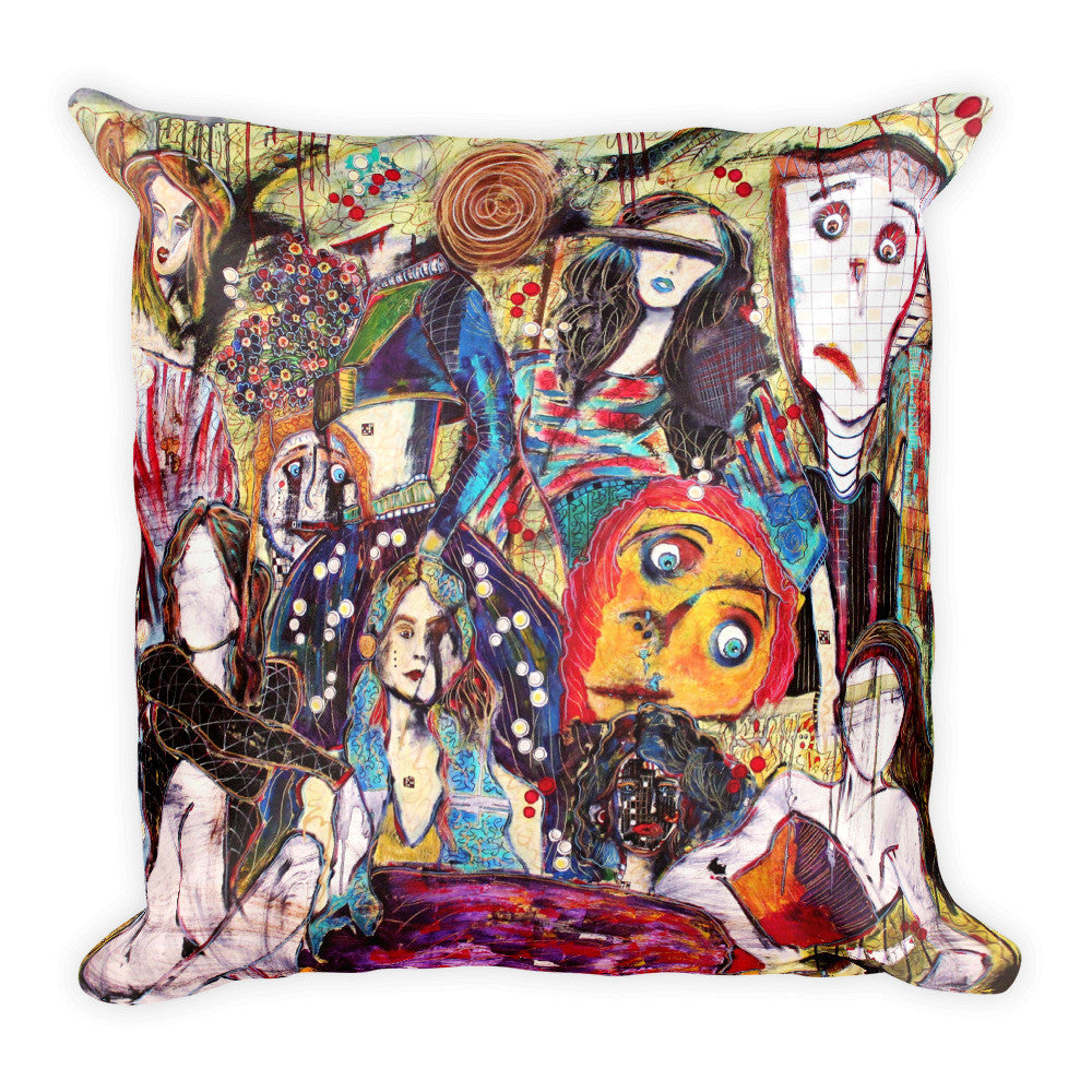 "Back of 18"" x 18"" pillow featuring original painting, The Resilient, by Penelope Przekop."
