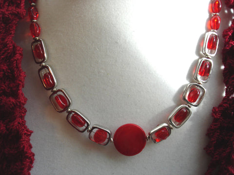 Bright Red Silver Necklace Set
