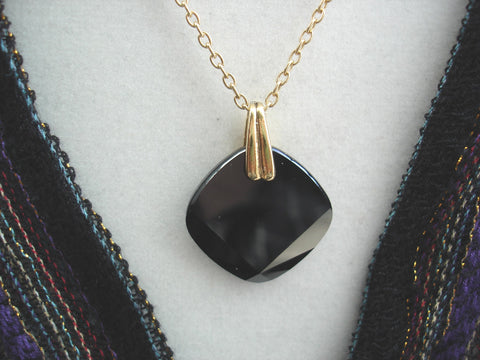 Black Crystal Pendant on 14kt Goldfill Chain