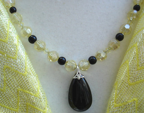 Black Onyx Pendant & Yellow Crystal Necklace Set