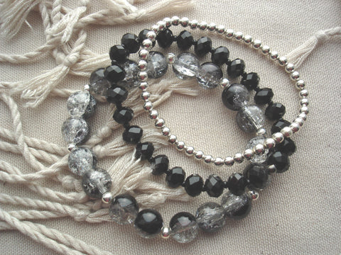 Black, Grey & Silver Bracelet Set