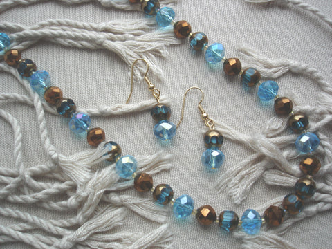 Blue and Copper Necklace Set
