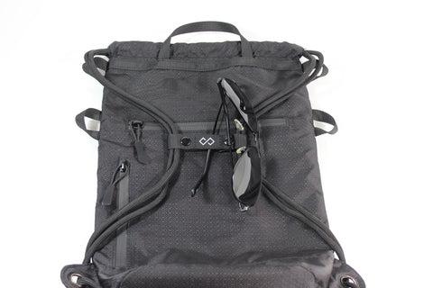 Midnight Infinity Daypack with Sunglasses on Infinity Sternum Strap