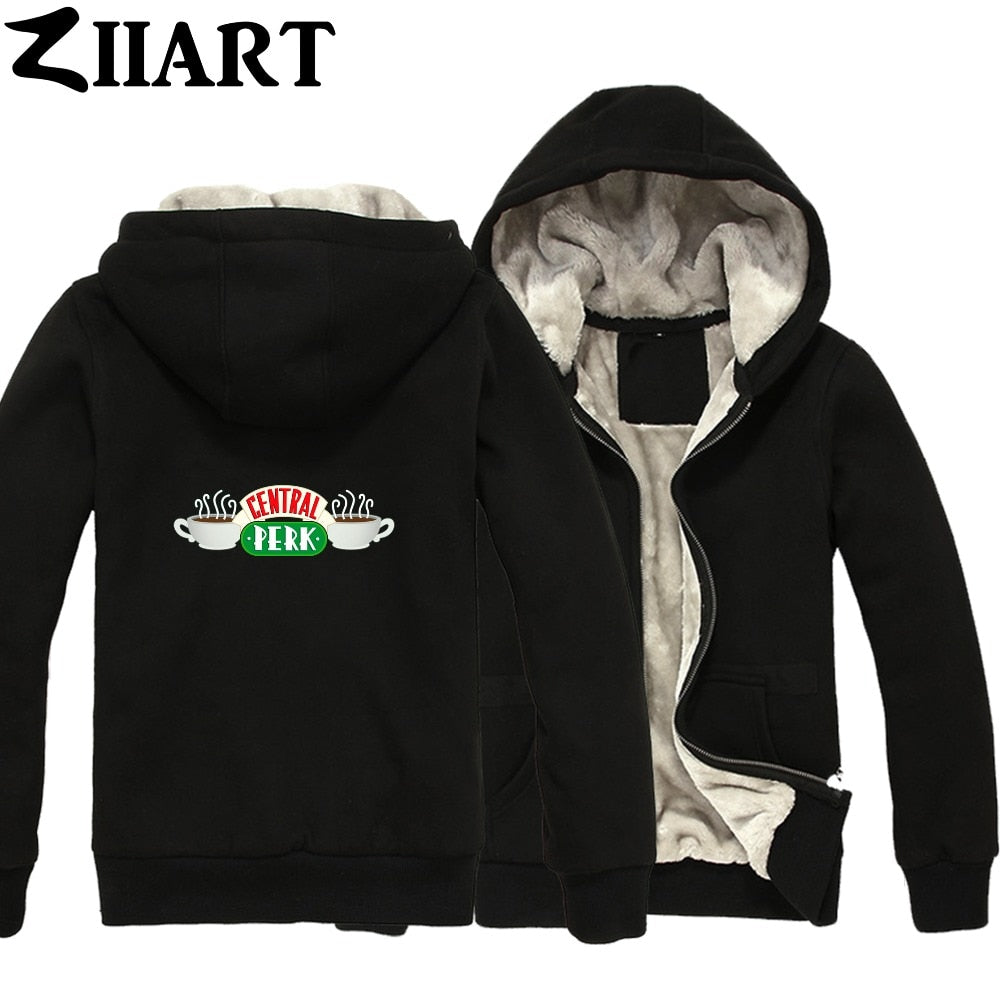 central perk Cafe friends tv show logo Couple Clothes Boys Man Male Full Zip Autumn Winter Plus Velvet Parkas ZIIART