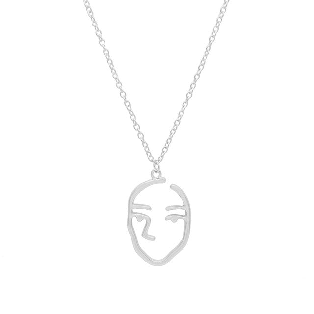 New Face Abstract Personality Pendant Nacklace For Women Gold Silver Color Hollow Face Charm Female Necklaces Hot Selling