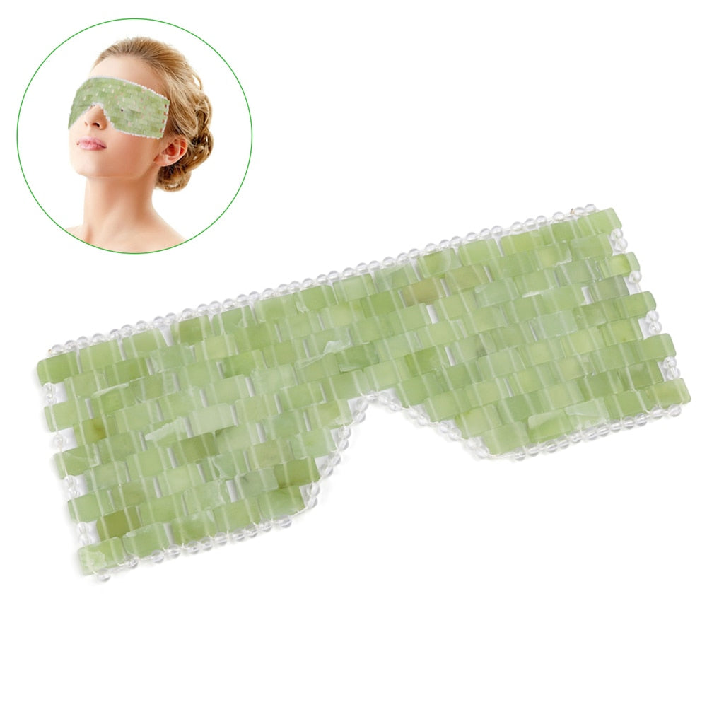 New Jade Eye Massager Tool Natural Jade Eye Relaxation Massage Stone Skin Massage Beauty Eye Care Tool with Box