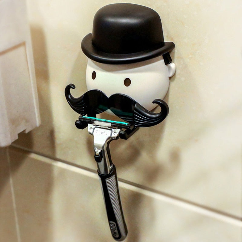 Creative Shaver Holder Gentleman Beard For Men Bathroom Organizers Wall Sucker Suction Hook Storage Hook  Bathroom Decoration