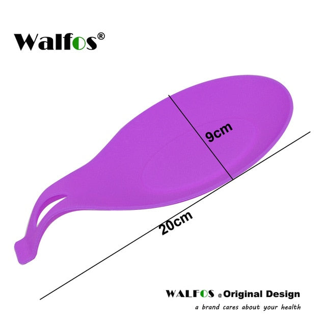 WALFOS food grade Silicone Spoon Rest Utensil Spatula Holder Heat Resistant Kitchen Tool