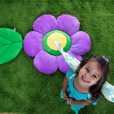 Peppy Purple Flower Floor Pillow