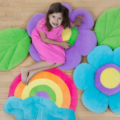 girl on rainbow and flower floor blooms
