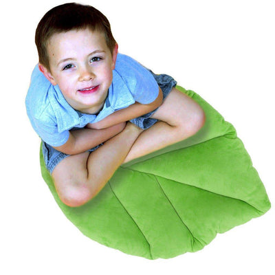 leaf pillow with boy on it in green