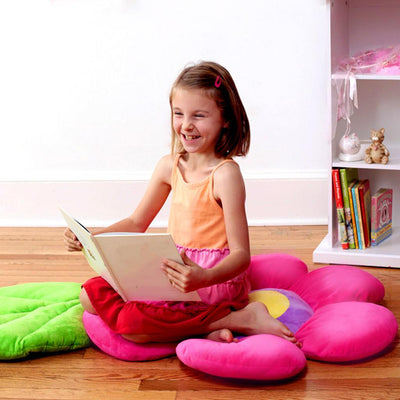 Pink Pillow with girl reading on it - Floor Bloom