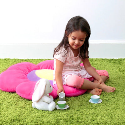 Pink Flower Floor Pillow with girl having tea party - Floor Bloom