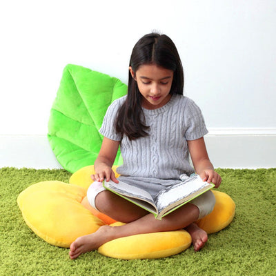 Reader on Leaf Floor Pillow - Floor Bloom