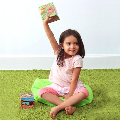 Girl on Lovely Leaf Floor Pillow - Floor Bloom