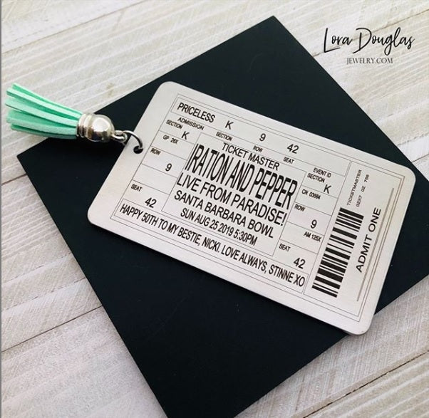 Personalized Ticket Bookmark for any Band, Concert, or Event