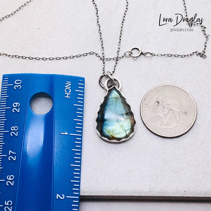 Labradorite Pendant Necklace, Sterling Silver