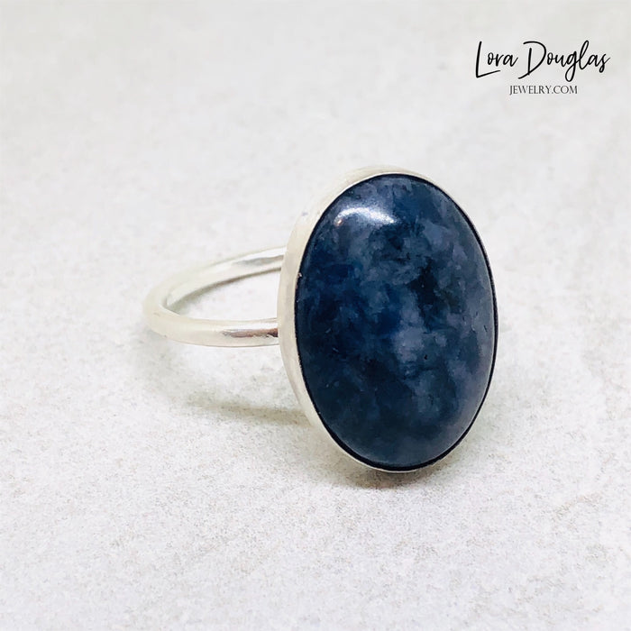 Sodalite Sterling Silver Ring, Size 8.75