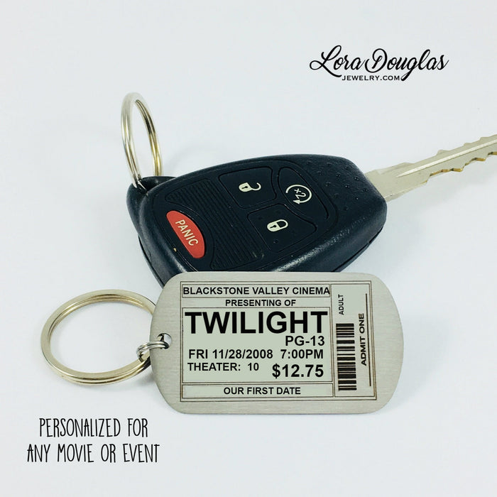 Movie Ticket Key Chain, Personalized for any Movie or Event