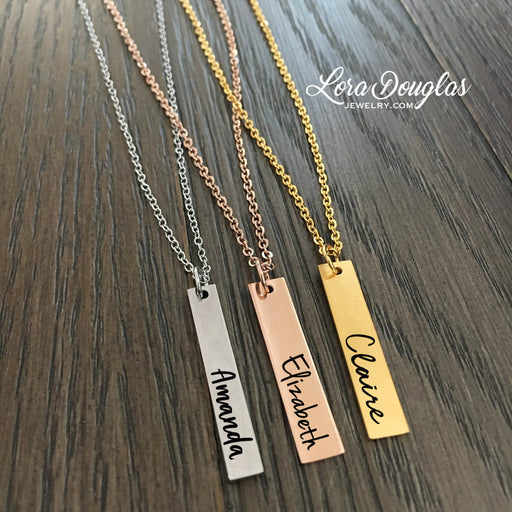 Personalized Bar Necklace, Silver, Rose Gold or Gold Bar Necklace - Lora Douglas Jewelry