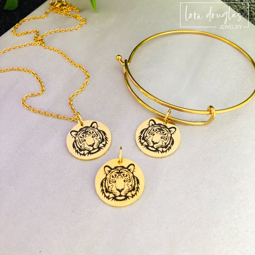 Tiger Jewelry, Tiger Bracelet, Tiger Necklace (Gold)
