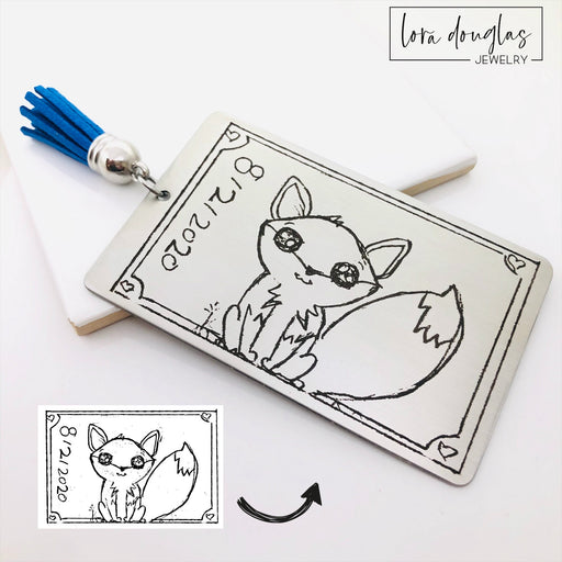 Child Art Bookmark, Engrave Your Child's Artwork