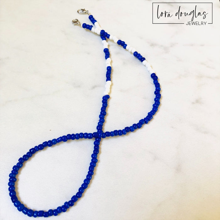 Mask Lanyard, Mask Holder, Mask Necklace | Blue and White | Child Size