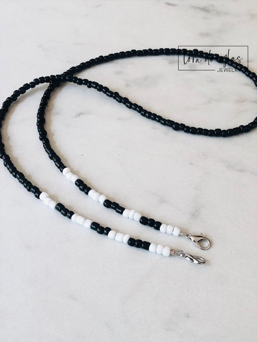 Mask Lanyard, Mask Holder, Mask Necklace | Black and White