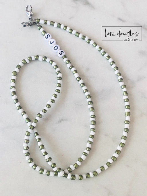 Mask Lanyard, Mask Holder, Mask Necklace | SJDS | Green & White