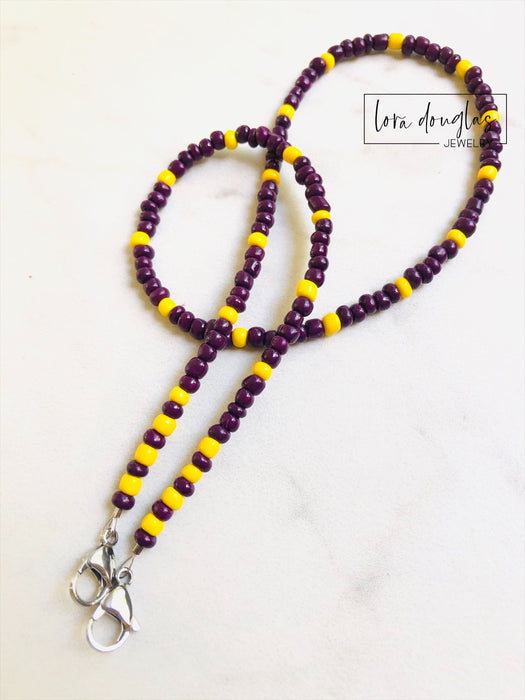 Mask Lanyard, Mask Holder, Mask Necklace | LSU | Child Size