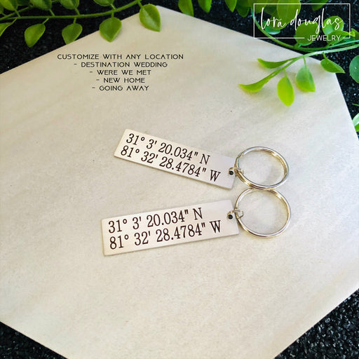 Latitude Longitude Keychain, Personalized Keychain, Metal Key chain