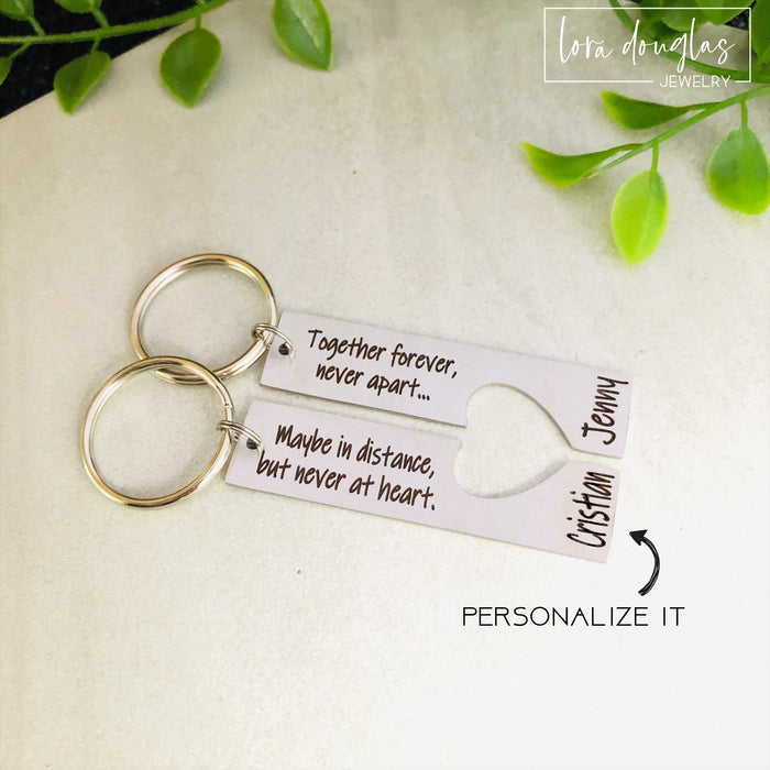 Together Forever Never Apart Maybe in Distance but Never at Heart, Heart Keychain Set