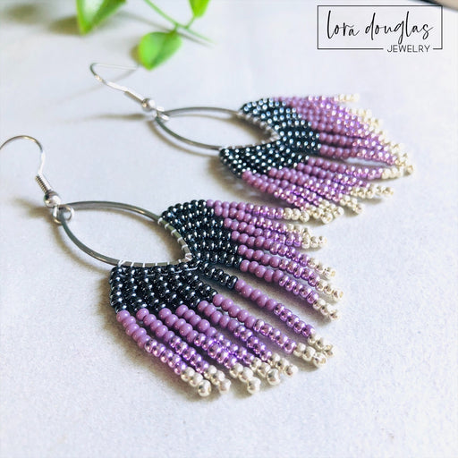 Beaded Fringe Earrings - Purple Silver