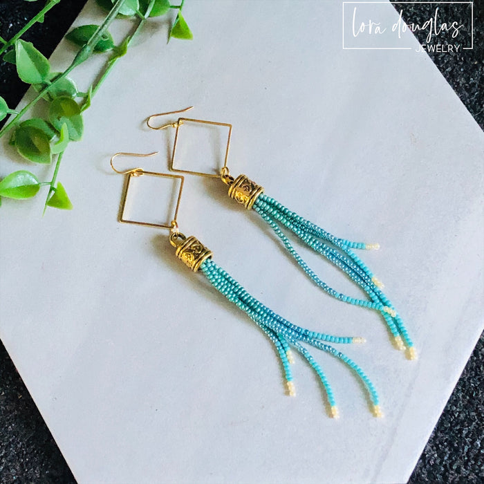 Beaded Fringe Earrings - Turquoise and Blue