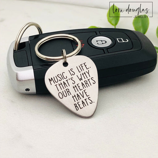 Music is Life. Guitar Pick Keychain