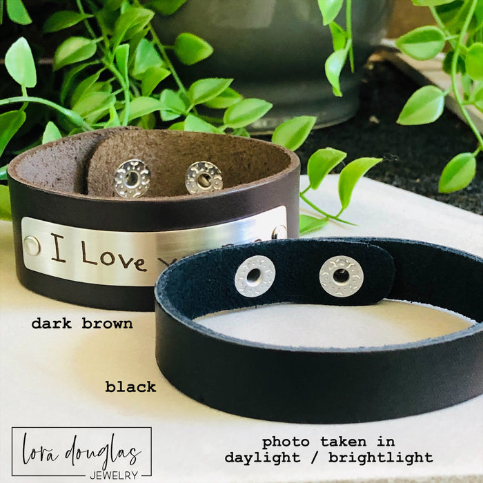 Handwriting Bracelet, Leather Cuff Bracelet