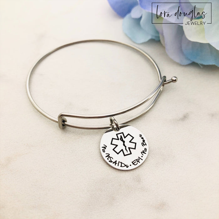 Medical Alert Bangle Bracelet, Personalized Medical Alert