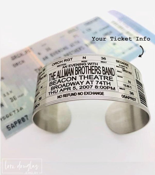 Personalized Ticket Bracelet for any Band, Concert, or Event