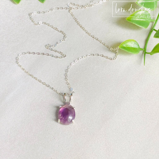 Amethyst Pendant Necklace, Sterling Silver