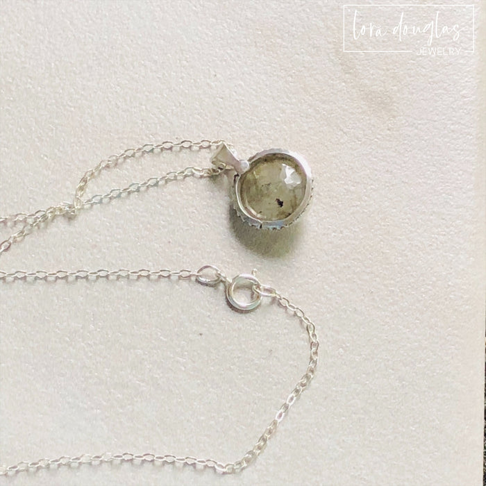 Faceted Labradorite Gemstone Pendant Necklace, Sterling Silver