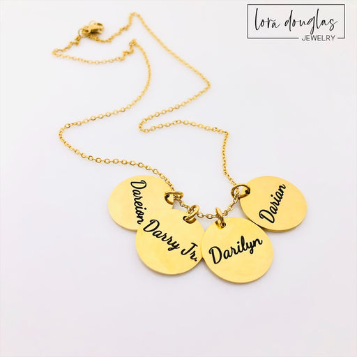 Engraved Disc Necklace (Silver, Gold, or Rose Gold)