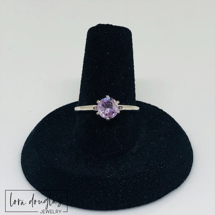 Pink Amethyst Solitaire Sterling Silver Ring, Size 6.5