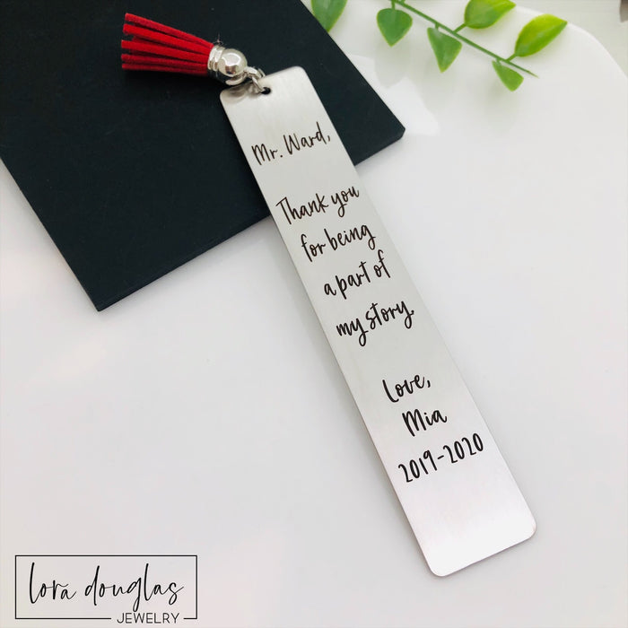 Teacher Appreciation Bookmark, Part of my Story