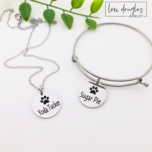 Paw Print Jewelry, Paw Print Necklace, Paw Print Bangle