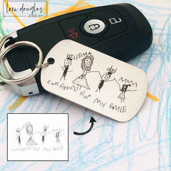 Child's Art Keychain, Engrave your child's artwork