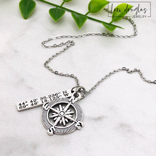 Compass Necklace, Latitude Longitude Jewelry