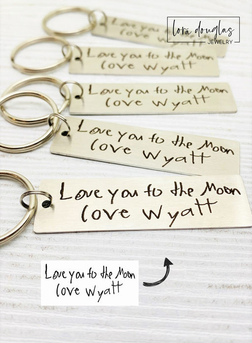 Your Child's Handwriting on a Keychain, Engraved Handwriting