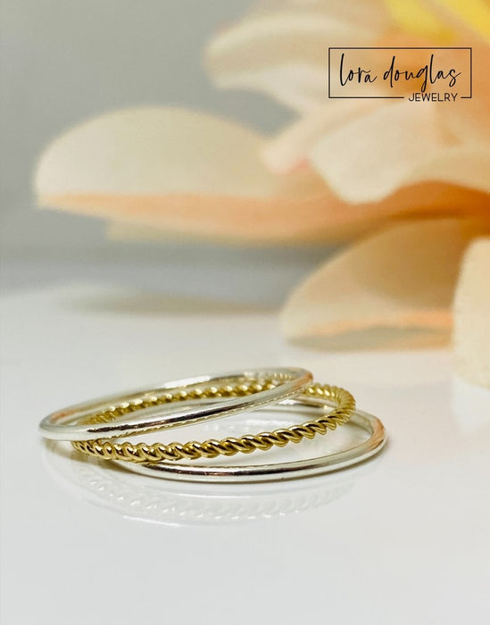 Gold and Sterling Silver Stacking Rings, 3 Stacking Ring Set